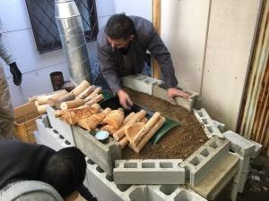 松村式改良型ドラム缶炭窯と幸家式ロケットストーブのコラボ炭窯完成